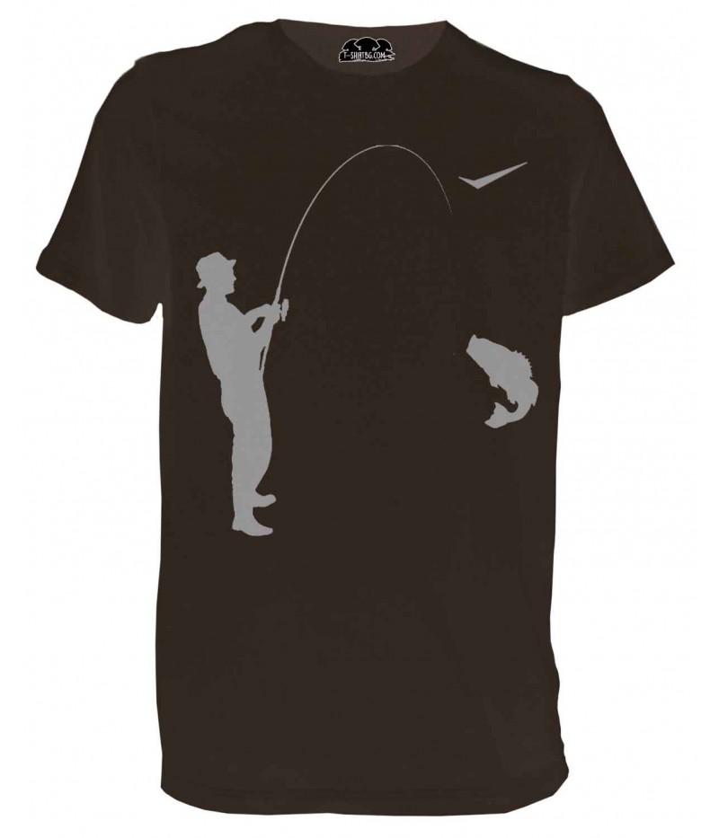 Ловна тениска с ловец - кафява
