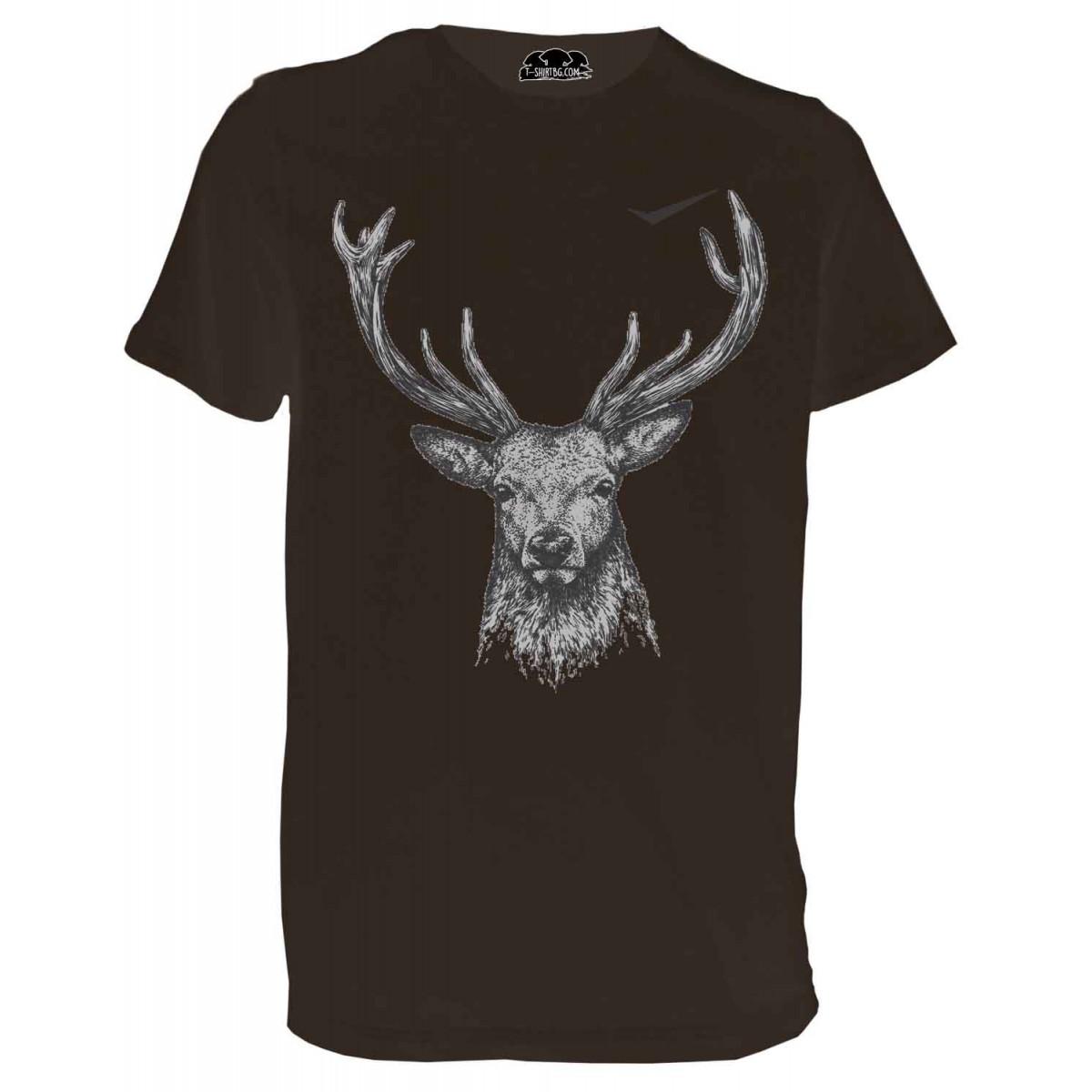 Ловна тениска с елен - кафява